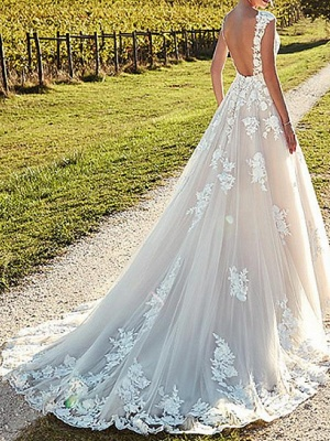 A-Line Wedding Dresses Jewel Neck Sweep \ Brush Train Lace Tulle Cap Sleeve Formal Sexy Backless Cape_5