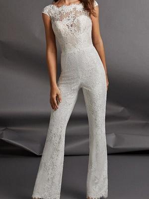 Jumpsuits Wedding Dresses Jewel Neck Floor Length Detachable Lace Tulle Cap Sleeve Country Plus Size_3