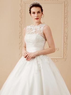 A-Line Wedding Dresses High Neck Ankle Length Lace Over Tulle Regular Straps Vintage Little White Dress Illusion Detail_13