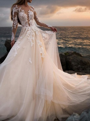 A-Line Wedding Dresses Bateau Neck Court Train Lace Tulle Long Sleeve Formal See-Through Illusion Sleeve_2