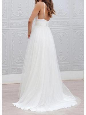 A-Line Wedding Dresses Spaghetti Strap Plunging Neck Floor Length Taffeta Tulle Chiffon Over Satin Sleeveless Country Plus Size_2