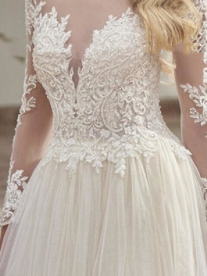 A-Line Wedding Dresses Jewel Neck Sweep \ Brush Train Lace Tulle Long Sleeve Country See-Through Plus Size_3