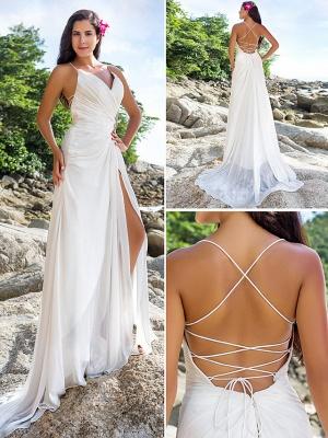 Sheath \ Column Wedding Dresses V Neck Sweep \ Brush Train Chiffon Spaghetti Strap Beach Sparkle & Shine Backless_8