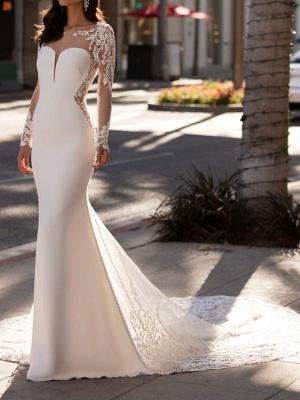 Mermaid \ Trumpet Jewel Neck Court Train Lace Stretch Satin Sleeveless Formal Illusion Sleeve Wedding Dresses_1