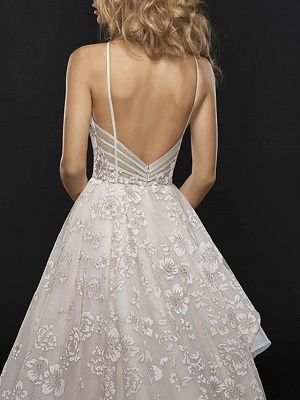 A-Line Wedding Dresses Jewel Neck Court Train Chiffon Tulle Spaghetti Strap_3