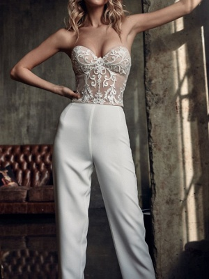 Two Piece Jumpsuits Wedding Dresses V Neck Sweep \ Brush Train Stretch Satin Long Sleeve Country Plus Size_4