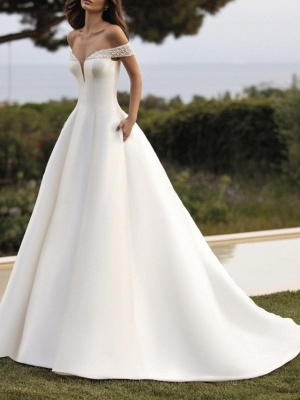 A-Line Wedding Dresses Off Shoulder Court Train Satin Sleeveless Simple_1