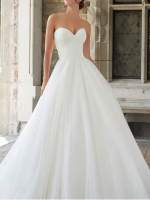 A-Line Wedding Dresses Strapless Sweep \ Brush Train Tulle Sleeveless Simple_3