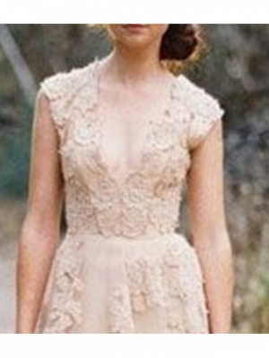A-Line V Neck Sweep \ Brush Train Lace Sleeveless Formal Wedding Dress in Color Wedding Dresses_2