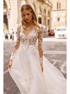 A-Line Wedding Dresses V Neck Court Train Lace Long Sleeve Country Formal Casual Illusion Sleeve_3