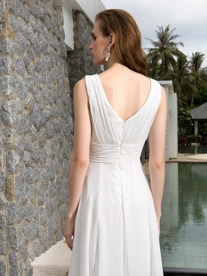 A-Line Wedding Dresses V Neck Asymmetrical Georgette Regular Straps Formal Simple Casual Plus Size_3