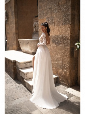 A-Line Wedding Dresses V Neck Sweep \ Brush Train Chiffon Lace Long Sleeve Romantic Backless Illusion Sleeve_2