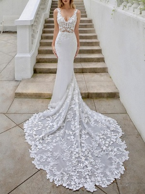 A-Line V Neck Sweep \ Brush Train Lace Georgette Sleeveless Sexy Backless Wedding Dresses_1