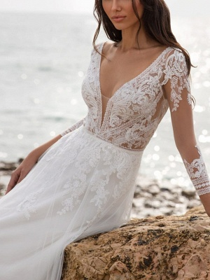 A-Line Wedding Dresses V Neck Sweep \ Brush Train Tulle 3\4 Length Sleeve Beach Illusion Sleeve_2