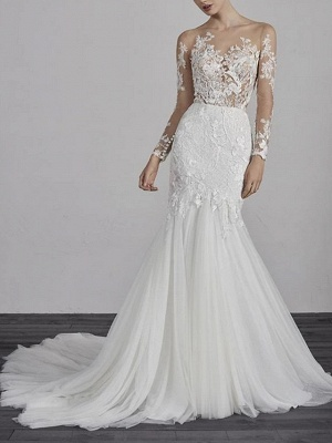 Mermaid \ Trumpet Wedding Dresses Jewel Neck Court Train Lace Tulle Long Sleeve Boho Illusion Sleeve_1