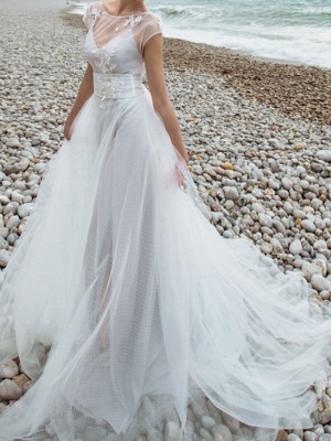 Two Piece A-Line Wedding Dresses Jewel Neck Sweep \ Brush Train Tulle Chiffon Over Satin Short Sleeve Country Plus Size_1