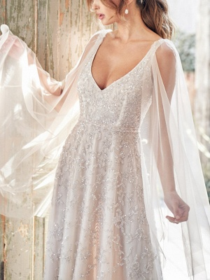 A-Line Wedding Dresses V Neck Chapel Train Lace Sleeveless Sexy Wedding Dress in Color_4