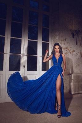 ZY088 Simple Evening Dresses Long Blue   Evening Wear V Neckline_2