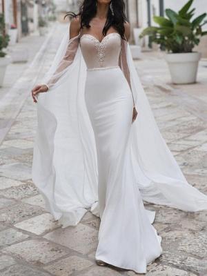 Mermaid \ Trumpet Wedding Dresses Sweetheart Neckline Sweep \ Brush Train Polyester Long Sleeve Romantic See-Through Illusion Detail Backless_1