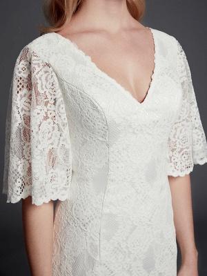 Mermaid \ Trumpet Wedding Dresses V Neck Sweep \ Brush Train Lace Half Sleeve Beautiful Back_7