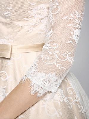 A-Line Wedding Dresses Bateau Neck Ankle Length Lace Over Satin 3\4 Length Sleeve Casual Boho See-Through Cute Illusion Sleeve_11