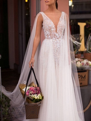 A-Line Wedding Dresses V Neck Sweep \ Brush Train Lace Tulle Regular Straps Casual Beach Sexy See-Through Backless Cape_2