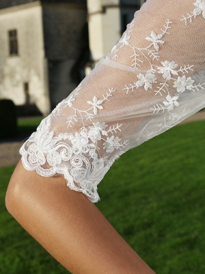 A-Line Wedding Dresses V Neck Ankle Length Organza Sheer Lace Half Sleeve Country Casual Vintage See-Through Illusion Sleeve_9