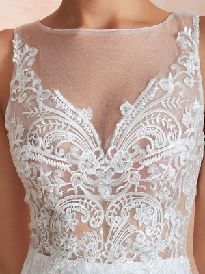 Mermaid \ Trumpet Wedding Dresses Jewel Neck Sweep \ Brush Train Lace Tulle Sleeveless Sexy Illusion Detail_3