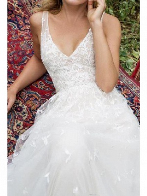 A-Line Wedding Dresses V Neck Sweep \ Brush Train Lace Tulle Sleeveless Country Plus Size_3