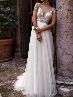 A-Line Wedding Dresses Jewel Neck Court Train Chiffon Lace Tulle Sleeveless Beach Boho Sexy See-Through_1