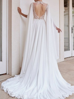 A-Line Wedding Dresses High Neck Court Train Detachable Chiffon Lace Long Sleeve Sexy See-Through_2