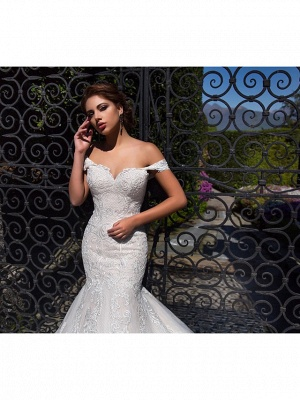 Mermaid \ Trumpet Off Shoulder Court Train Lace Tulle Short Sleeve Sexy Backless Wedding Dresses_4