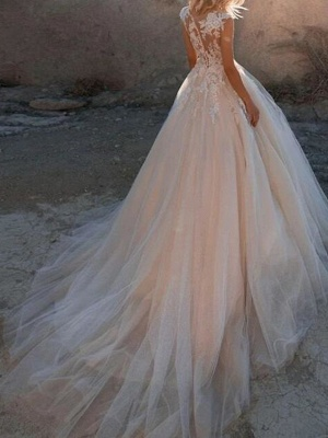 A-Line Wedding Dresses Jewel Neck Court Train Lace Tulle Sleeveless Sexy See-Through_2