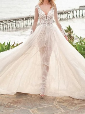 A-Line Wedding Dresses V Neck Sweep \ Brush Train Tulle Polyester Long Sleeve Country Beach Plus Size Illusion Sleeve_2
