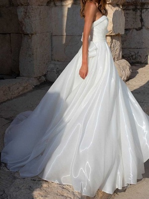 A-Line Wedding Dresses Sweetheart Neckline Sweep \ Brush Train Polyester Sleeveless Country Plus Size_2