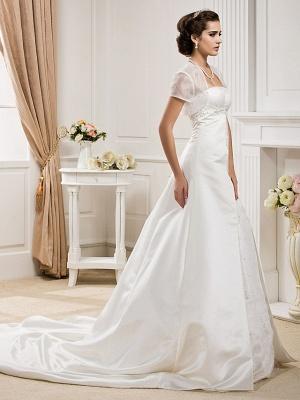 Princess A-Line Wedding Dresses Strapless Court Train Organza Satin Sleeveless_2