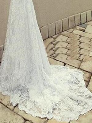 Mermaid \ Trumpet Wedding Dresses Scoop Neck Sweep \ Brush Train Lace Taffeta Chiffon Over Satin Sleeveless Sexy Plus Size_4