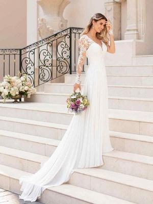 A-Line Wedding Dresses V Neck Chapel Train Chiffon Satin Long Sleeve Romantic Illusion Sleeve_2