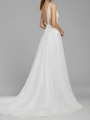 A-Line Wedding Dresses V Neck Sweep \ Brush Train Chiffon Lace Spaghetti Strap Illusion Detail Backless_3