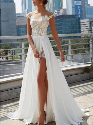 A-Line Wedding Dresses Off Shoulder Sweep \ Brush Train Lace Satin Cap Sleeve Formal Boho Plus Size_1