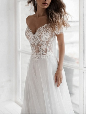 A-Line Wedding Dresses Off Shoulder Sweep \ Brush Train Lace Tulle Short Sleeve Beach Boho Sexy See-Through_2