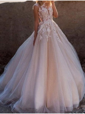 A-Line Wedding Dresses Jewel Neck Court Train Lace Tulle Sleeveless Sexy See-Through_1