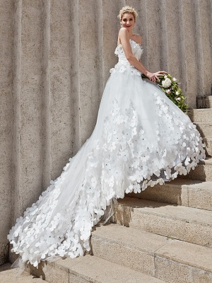 Ball Gown Wedding Dresses Strapless Court Train Tulle Strapless Country Glamorous Plus Size_6