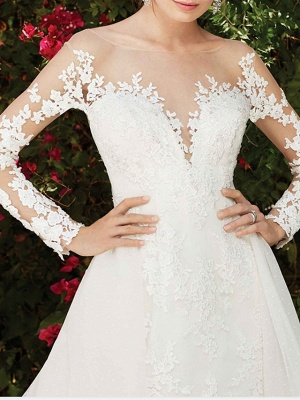 A-Line Wedding Dresses Jewel Neck Chapel Train Lace Long Sleeve Country Wedding Dress in Color_3
