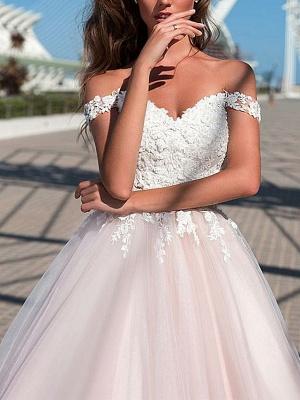 A-Line Wedding Dresses Off Shoulder Court Train Tulle Short Sleeve Romantic Illusion Detail_2