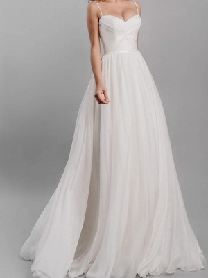 A-Line Wedding Dresses Spaghetti Strap Sweep \ Brush Train Silk Chiffon Over Satin Sleeveless Simple Beach_4