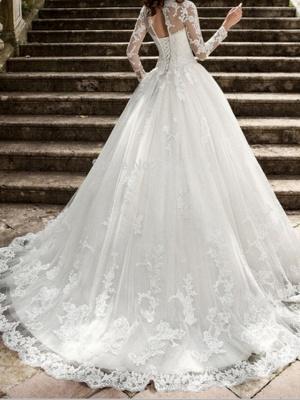 A-Line Wedding Dresses Jewel Neck Sweep \ Brush Train Tulle Long Sleeve Formal Illusion Sleeve_2