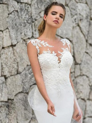 Mermaid \ Trumpet Off Shoulder Court Train Lace Satin Tulle Sleeveless Sexy See-Through Wedding Dresses_3