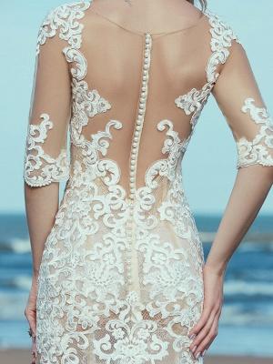 Mermaid \ Trumpet Wedding Dresses Scoop Neck Sweep \ Brush Train Lace Tulle Half Sleeve Beautiful Back_8