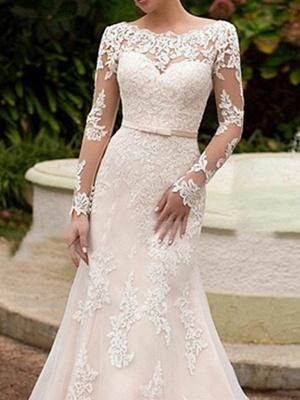 Mermaid \ Trumpet Wedding Dresses Bateau Neck Sweep \ Brush Train Lace Long Sleeve Boho Illusion Sleeve_2